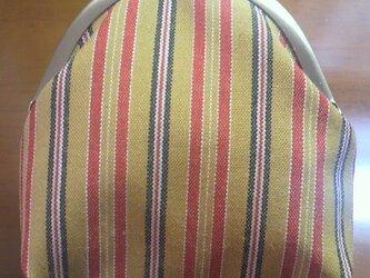 着物生地のがま口財布(黄縞)の画像