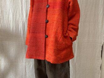紅絹裂織りジャケット(silk100%)の画像