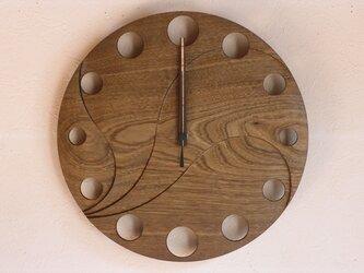 無垢の木の電波掛け時計 神代ニレ 0002の画像