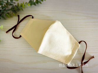 コーデュロイ素材♡ミルキークリーム色・立体冬マスクの画像