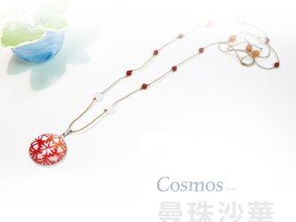 【Cosmos】曼珠沙華〜和紙とガラスのペンダントの画像