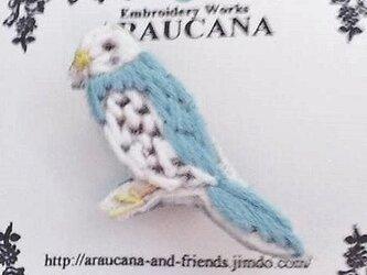 刺繍ブローチ(水色インコ)の画像