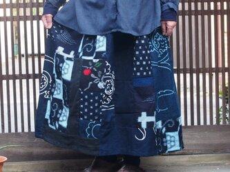 古布リメイク☆木綿スカート☆藍染め絣を楽しんで♪の画像