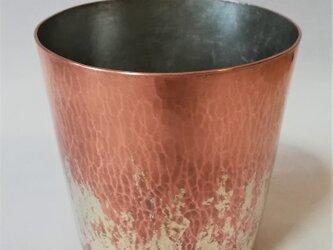 純銅/コップ 銀ロウ流し模様 内錫引きの画像