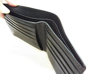 【革・ステッチのカラーが選べる】牛革二つ折り財布*受注製作*の画像