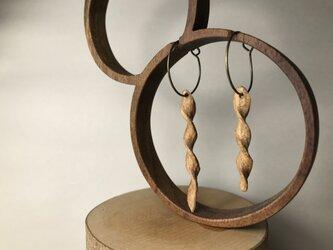 木彫ピアス(フープ、ネジネジ、けやき)の画像