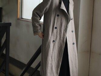 【冬NEW】両面起毛ベルギーリネン25番手厚手リネンコート 【受注生産品】の画像