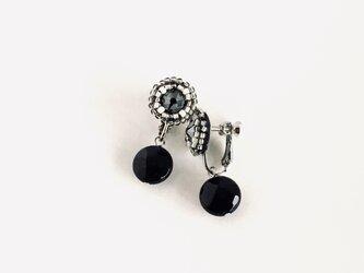 [天然石]Black moonイヤリング/天然石オニキス×スワロフスキーの画像
