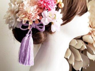 淡花 花fuwari ダリアとピオニーの髪飾り7点Set No771の画像