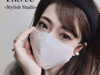 【白:普通サイズ】豪華刺繍で魅せる♡オシャレな大人の「ちょっと贅沢なレースマスク」上質国産素材の秋冬向きマスクの画像