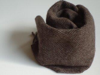 手織りミニカシミアマフラー・・焦茶のヘリンボーンの画像