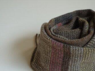 手織りミニカシミアマフラー・・渋色しましまの画像