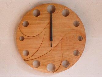 無垢の木の電波掛け時計 さくら 0012の画像