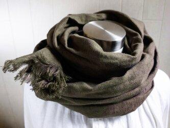 秋冬 あったか起毛リネンのストール チャコールブラウンの画像