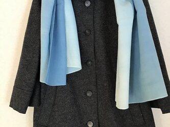草木染め ウールショール 藍 水色〜ブルーの画像
