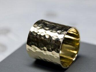 槌目 真鍮フラットリング 18.0mm幅 でこぼこ BRASS RING 379の画像