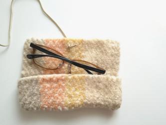 織りフェルト ホームスパン フワフワ眼鏡ケース メガネ 手織り 草木染めの画像