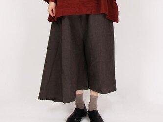 9番手平織りリネンスカートパンツ(チャコール)の画像