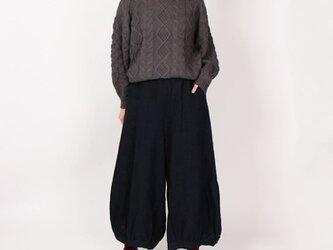 9番手綾織りリネン裾バルーンワイドパンツ(ネイビー)の画像