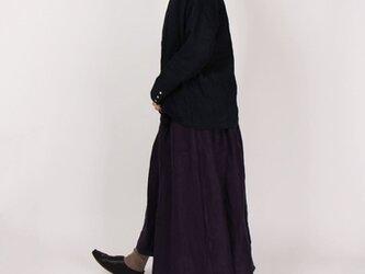 14番手綾織りリネンギャザーロングスカート(パープル)の画像