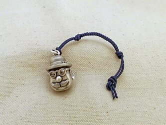 銀製の鈴 『 ボーラーハットの老紳士 』 (シルバー925) 根付・バッグチャームの画像