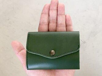 栃木レザー ヌメ革の三つ折コンパクト財布 選べる無料or有料刻印【グリーン】の画像
