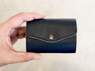 栃木レザー ヌメ革の三つ折コンパクト財布 選べる無料or有料刻印【ネイビー】の画像