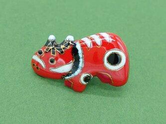 [受注制作]赤べこの七宝焼ピンブローチ(ピンバッジ)の画像