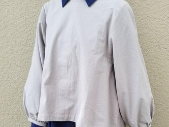 たっぷりギャザーのボリューム袖プルオーバー◇フリーサイズ ウォッシュコットンの画像