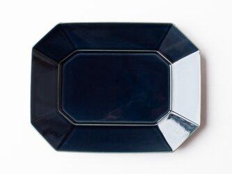 八角プレート L 紺 (瑠璃釉) の画像