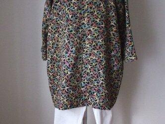 アンティーク着物から麻の葉の背守りバルーンチュニック 絹の画像