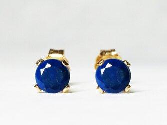 【12月誕生石】瑠璃色の2粒。ラピスラズリ・ピアス [送料無料]の画像