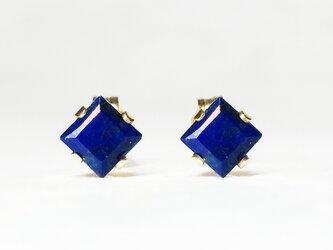 【12月誕生石】上品な瑠璃色。ラピスラズリのピアス [送料無料]の画像