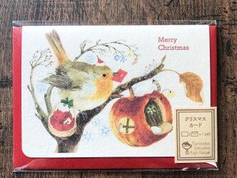 クリスマスカード『ロビンとリンゴ』の画像