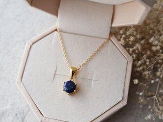 【14kgf】宝石質ラピスラズリの一粒ネックレスの一粒ネックレス*12月誕生石の画像