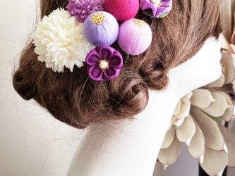 花kirari 和玉ボールとつまみ細工の髪飾り7点Set No773の画像
