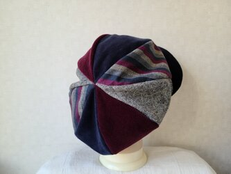 魅せる帽子☆新色トリコロールカラー♪ふわもこ大きめグラデーションキャスケット~ボルドー&ネイビーの画像