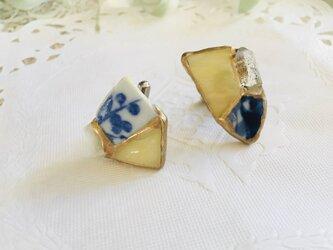 クリスタル・ステンドグラス・シー陶器の金継ぎカフスリンクスの画像