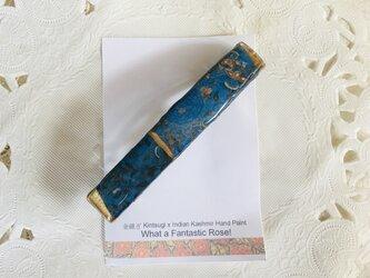 金継ぎ x Kashmir Hand Paint バレッタ (ブルー)の画像