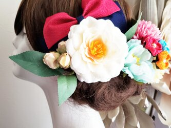 花姫 白椿と和リボンの髪飾り13点Set No774の画像