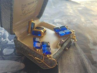 ヴィンテージ Sapphire-Blue/Rectangle 14kgfピアス または イヤリングの画像