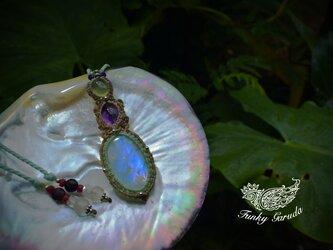 鍵の宝石★透明高品質★ホワイトラブラドライト+アメトリン+プレナイト マクラメペンダントmoon020の画像