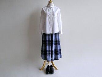 播州織コットン*たっぷりギャザーのキュロットスカート(青系チェック柄・ツイル生地)送料無料の画像
