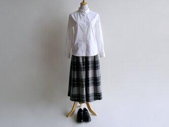 播州織コットン*たっぷりギャザーのキュロットスカート(黒系チェック柄・ツイル生地)送料無料の画像