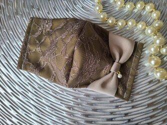 カーキ レース りぼん 立体 マスクの画像