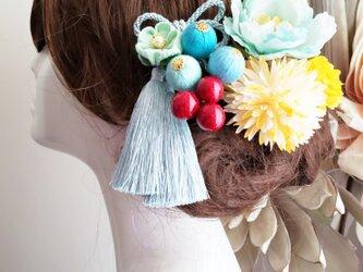 Cute ピオニーと和玉ボールの髪飾り9点set No775の画像