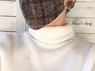 コットンツイードの小顔見せマスク 秋冬マスク ゴム紐タイプ ダブルガーゼ かわいい おしゃれ 肌荒れしないの画像