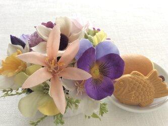 仏花   真珠の涙   福    (甘味のお供え付き、ミニミニサイズ、仏花、造花、お盆、お彼岸、お供え、敬老の日)の画像
