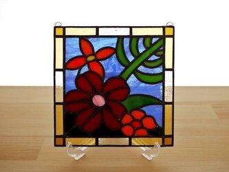 ステンドグラス ミニパネル 南国の花 15cmの画像
