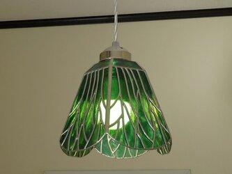 グリーンの木々(ステンドグラスペンダントライト)吊り下げ照明・ガラス Lサイズ・43の画像
